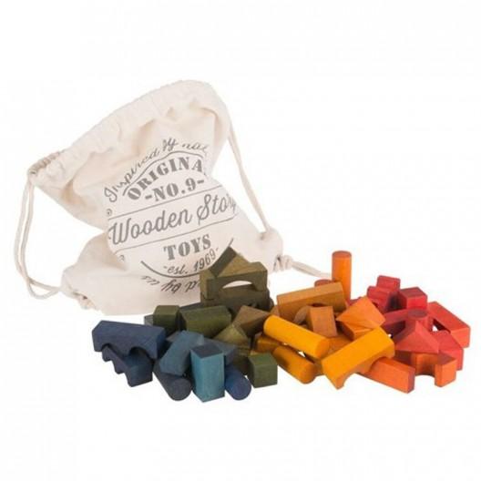Bolsa 100 bloques de madera Rainbow