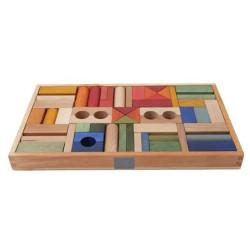 Caja 54 bloques de madera Rainbow
