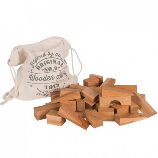 Bolsa 50 bloques XL de madera natural