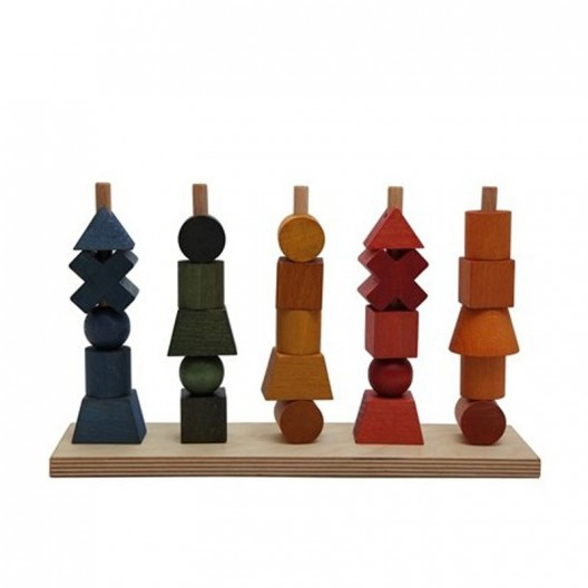 Ensartable 5 torres de madera Rainbow