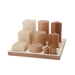 Tabla de clasificación con figuras geométricas XL de madera natural