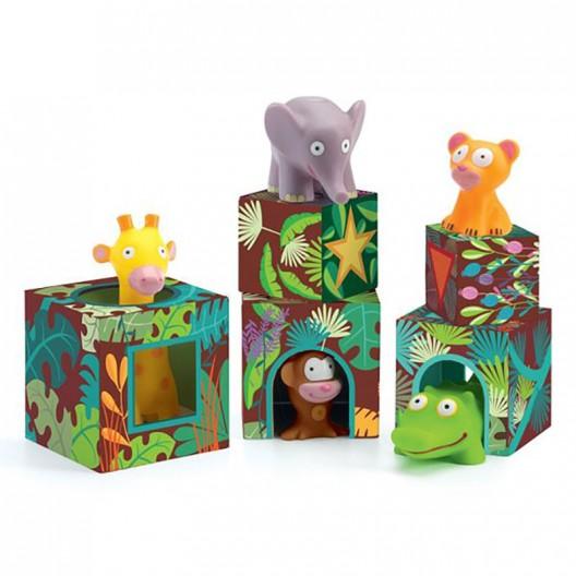 Maxi Topanijungle - Cubos apilables con animales de la selva