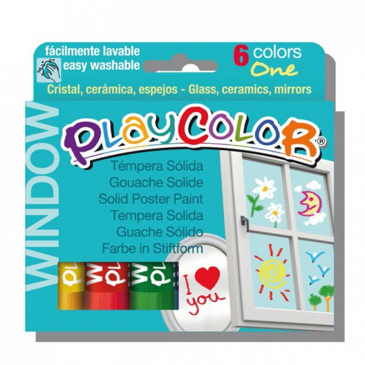 Caja surtido 6 PlayColor Window One 10g - Témpera sólida para cristal