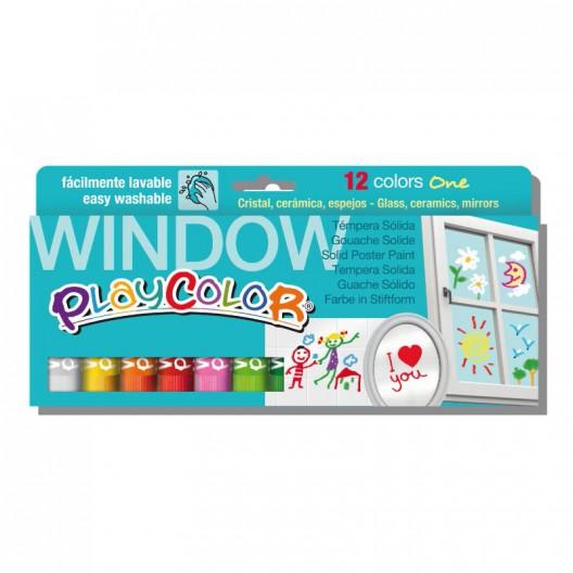 Caixa assortit 12 PlayColor Window One 10g - pintura al tremp sòlida per a cristall
