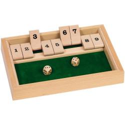 Cierra la caja, shut the box - juego de cálculo con dados para dos o más jugadores