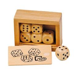 Caja con 6 dados de madera