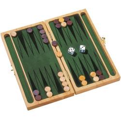 Backgammon - juego clásico en caja de madera para el viaje
