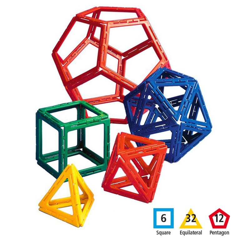 Polydron 50 piezas marco sólidos platónicos - juguete de formas ...