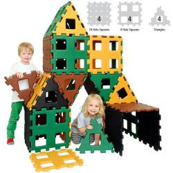Polydron XL set 1 básico de 12 piezas colores naturales - juguete de formas geométricas