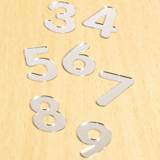 Números acrílicos espejo del 0 a 9