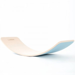 Wobbel Board Original - tabla curva de madera decapado blanco con fieltro azul aqua