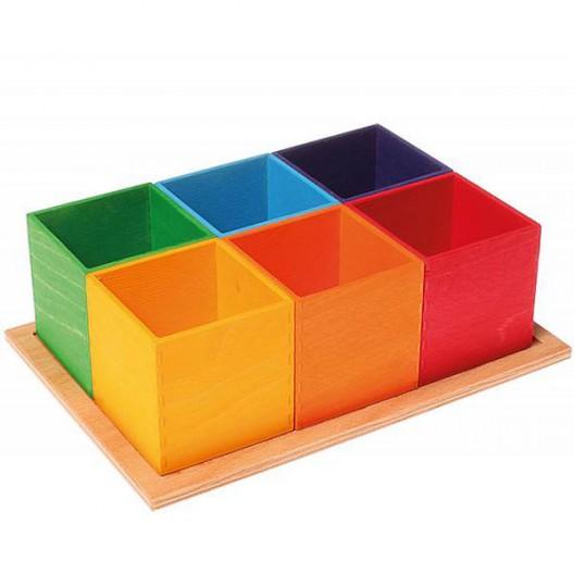 Organizador de madera colores arco iris - últimas unidades
