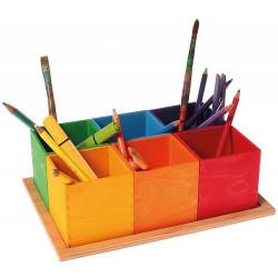 Organizador de madera colores arco iris