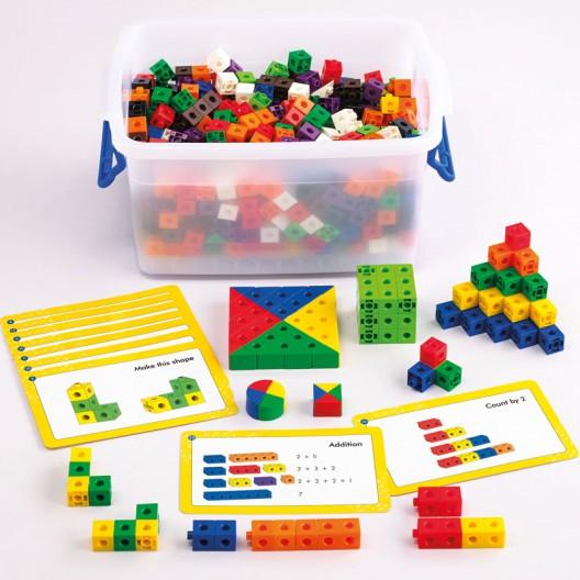 500 Cubos encajables matemáticos multilink 2x2cm - Set para el aula