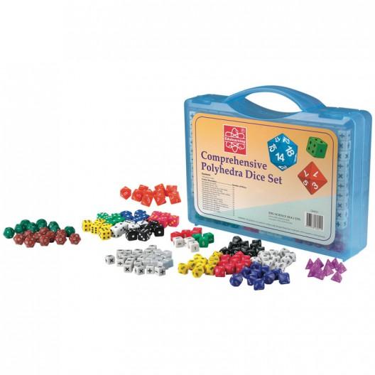 Set de 162 Dados Polihédricos en maletín para el aula