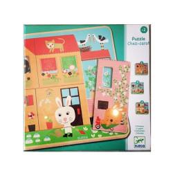 Puzzle de madera en 3 niveles - Casita de Conejos