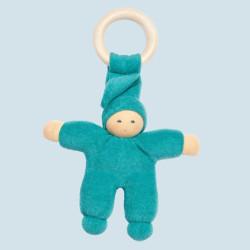 Muñeco Pimpel Ring de algodón orgánico azul turquesa
