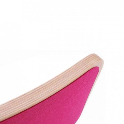 Wobbel Board Original - tabla curva de madera lacada transparente con fieltro fucsia