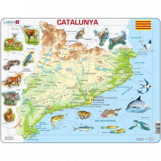 Puzle Educativo Larsen 60 piezas - Mapa Catalunya Física (catalán)