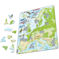Puzle Educativo Larsen 87 piezas - Mapa Europa Física