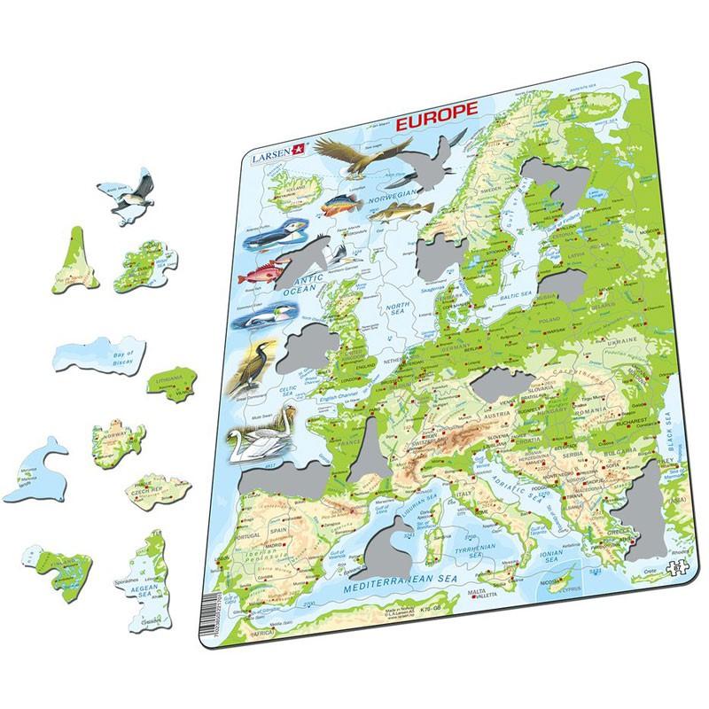 Puzle Educativo Larsen 87 Piezas  Mapa Europa Fsica Larsen RDT