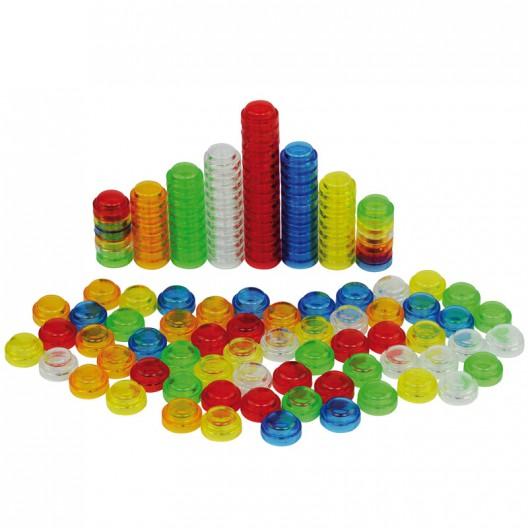 Botones translúcidos 20 mm encajables para contar - pack 500