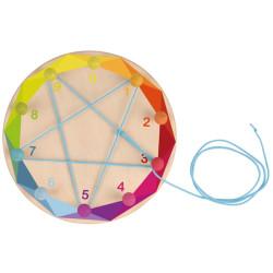 Círculo de madera matemático para enhebrar