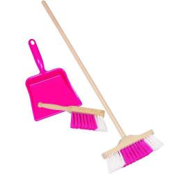 Recogedor, cepillo y escoba para jugar - Rosa