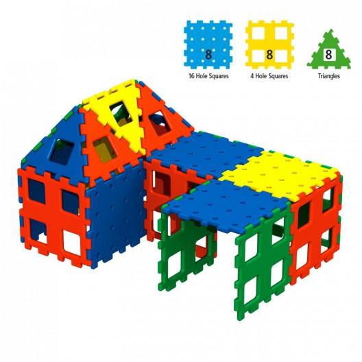 Polydron XL set 2 básico de 24 piezas - juguete de formas geométricas