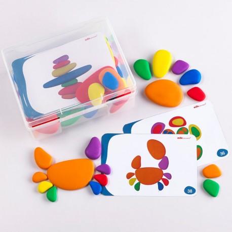 36 piedras tambleantes de goma en colores arco iris con plantillas