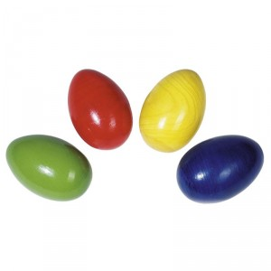Maraca en forma de huevo de madera - amarillo