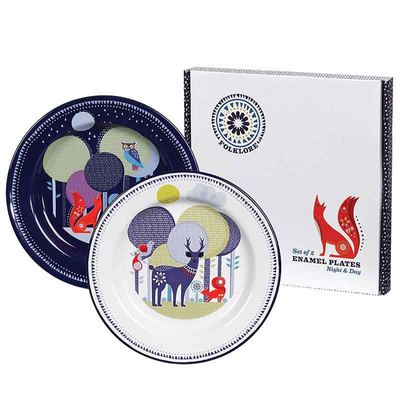 Set de 2 platos de enamel for Set de platos