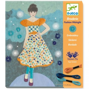Fashion Midnight - Kit de bordado con bastidor de madera