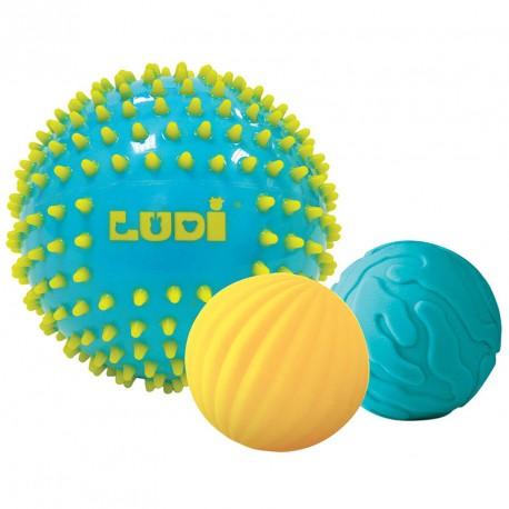 3 pelotas sensoriales bicolor turquesa y amarillo