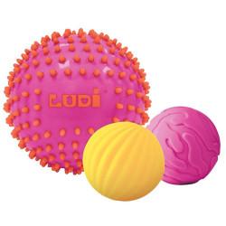 3 pelotas sensoriales bicolor rosa y amarillo