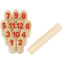 Number KUBB - juego vikingo con cifras, en bolsa de algodón