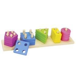 Formas ensartables de madera - Juego de clasificación