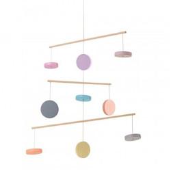 Móvil de madera - Círculos Pastel