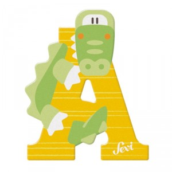 Letra de madera A - Aligator