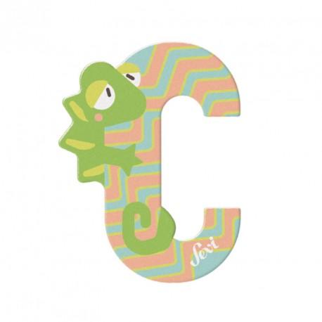 Letra de madera C - Camaleón