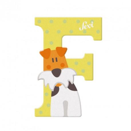 Letra de madera F - Fox Terrier