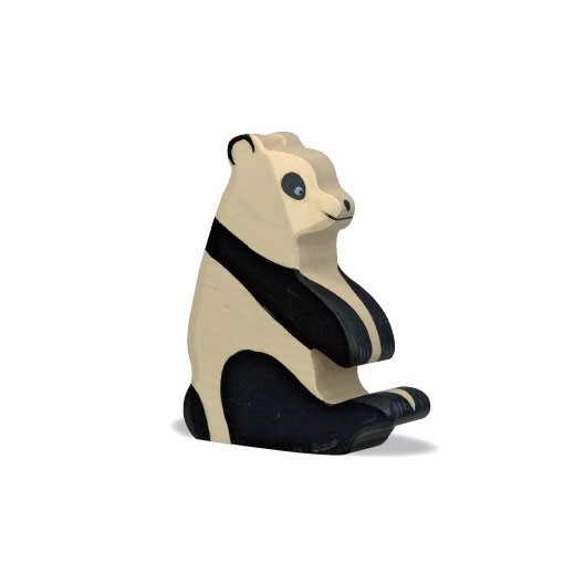 Oso Panda sentado - animal de madera