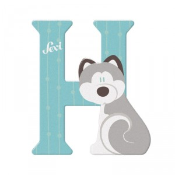Letra de madera H - Husky