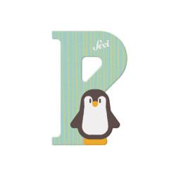 Letra de madera P - Pingüino