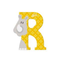 Letra de madera R- Rinoceronte