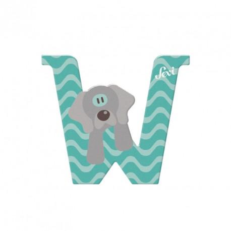 Letra de madera W - Weimaraner