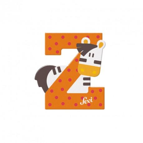Letra de madera Z - Zebra