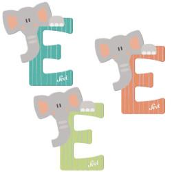Letra de madera E - Elefante