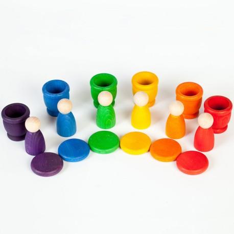 Nins, Cubiletes y Monedas - juego de madera del color del arcoiris