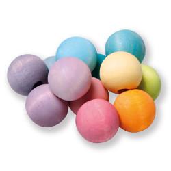 Sonajero de bolas de madera en colores pastel
